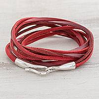 Featured review for Faux leather cord bracelet, Crimson Strands