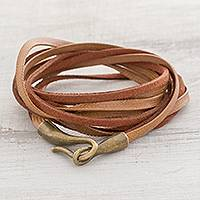 Faux leather cord bracelet, 'Sepia Harmony' - Brown Faux Leather Cord Bracelet from Guatemala