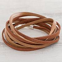 Faux leather cord bracelet, 'Sepia Strands' - Brown Faux Leather Cord Bracelet from Guatemala