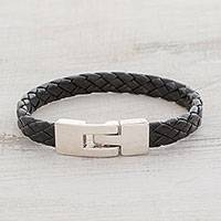 Faux leather braided wristband bracelet, 'Daring Style' - Black Faux Leather Unisex Wristband Bracelet from Guatemala