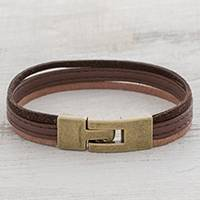 Faux leather wristband bracelet, 'Antiqued Tricolor Elegance' - Antiqued Tricolor Faux Leather Wristband Bracelet