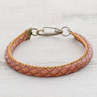 Faux leather wristband bracelet, 'Stylishly Fresh' - Handmade Faux Leather Wristband Bracelet from Guatemala
