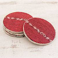 Cotton and recycled paper coasters, 'Colonial Beauty' (set of 4) - Cotton and Recycled Paper Coasters from Guatemala (Set of 4)