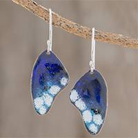 Enameled copper dangle earrings, 'Blue Winged Butterfly' - Blue Butterfly Wing Enameled Copper Dangle Earrings
