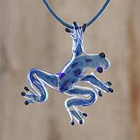 Glass pendant necklace, 'Speckled Frog' - Blue with Black Spots Handblown Glass Frog Pendant Necklace