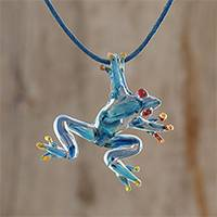 Glass pendant necklace, 'Red-Eyed Frog' - Blue with Red Accents Handblown Glass Frog Pendant Necklace