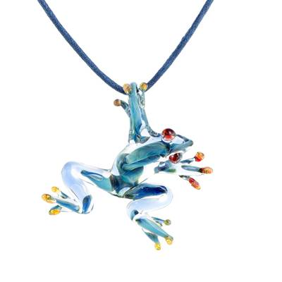 Handblown glass pendant necklace, 'Red-Eyed Frog' - Blue with Red Accents Handblown Glass Frog Pendant Necklace
