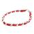 Leather and stainless steel bracelet, 'Fiery Power' - Reclaimed Red Leather Stainless Steel Wristband Bracelet (image 2a) thumbail