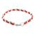 Leather and stainless steel bracelet, 'Fiery Power' - Reclaimed Red Leather Stainless Steel Wristband Bracelet (image 2c) thumbail