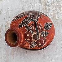 Ceramic mini decorative vase, 'Nectar' - Hummingbird Ceramic Mini Decorative Vase from Costa Rica