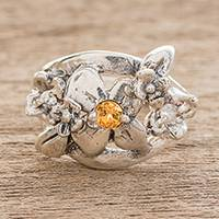 Sterling silver cocktail ring, 'Twinkling Garden' - Sterling Silver Floral Motif Cubic Zirconia Cocktail Ring