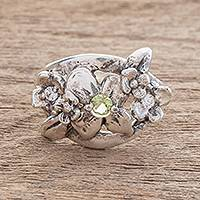 Sterling silver cocktail ring, 'Delightful Bouquet in Green' - Floral Sterling Silver Cocktail Ring in Green