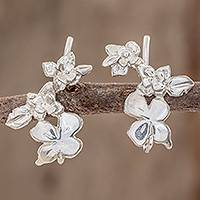 Sterling silver climber earrings, 'Summer Flowers' - High-Polish Sterling Silver Climber Earrings from Costa Rica