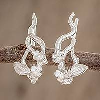 Sterling silver climber earrings, 'Autumn Flowers' - Artisan Crafted Floral Sterling Silver Climber Earrings