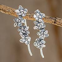 Sterling silver drop earrings, 'Climbing Jacaranda' - Combination Finish Floral Sterling Silver Drop Earrings