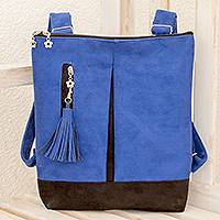 Leather backpack, 'Exploration in Lapis' - Handmade Leather Backpack in Lapis from Costa Rica