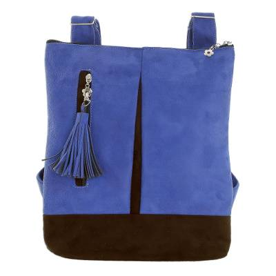 Handmade Suede Backpack in Lapis from Costa Rica