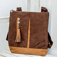 Suede backpack, 'Exploration in Espresso' - Handmade Suede Backpack in Espresso from Costa Rica