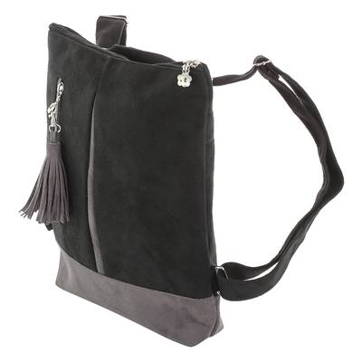 NOVICA Black Leather Backpack Exploration in Black