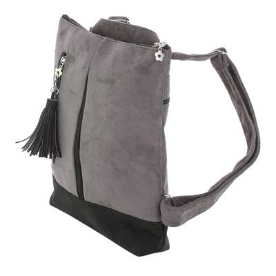 Handmade Suede Backpack in Grey from Costa Rica