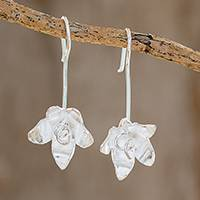 Sterling silver drop earrings, 'Shining Floral Happiness' - High-Polish Sterling Silver Drop Earrings from Costa Rica