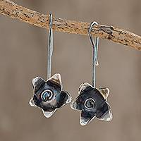 Sterling silver drop earrings, 'Floral Happiness' - Sterling Silver Drop Earrings from Costa Rica