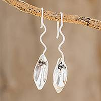 Sterling silver drop earrings, 'Windy Leaves' - Leaf-Shaped Sterling Silver Drop Earrings from Costa Rica