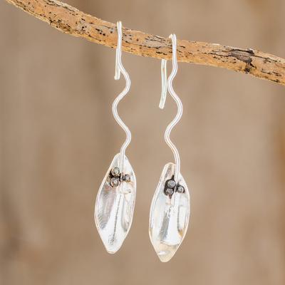 Sterling Silver Drop Earrings Windy Leaves Leaf Shaped