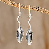 Sterling silver drop earrings, 'Dark Windy Leaves' - Combination Finish Leaf-Shaped Sterling Silver Drop Earrings