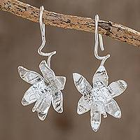 Sterling silver drop earrings, 'Fascinating Shining Orchids' - Sterling Silver Orchid Flower Drop Earrings from Costa Rica