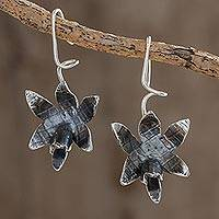 Sterling silver drop earrings, 'Fascinating Dark Orchids' - Oxidized Sterling Silver Orchid Drop Earrings