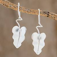 Sterling silver drop earrings, 'Twisting Leaves' - Sterling Silver Leaf Drop Earrings from Costa Rica