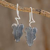 Sterling silver drop earrings, 'Dark Twisting Leaves' - Oxidized Sterling Silver Leaf Earrings from Costa Rica
