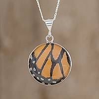 Butterfly wing pendant necklace, 'Monarch Beauty' - Monarch Butterfly Wing and Sterling Silver Pendant Necklace