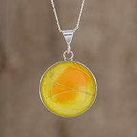 Butterfly wing pendant necklace, 'Cloudless Sulphur' - Yellow Butterfly Wing and Sterling Silver Pendant Necklace