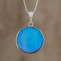 Butterfly wing pendant necklace, 'Blue Morpho' - Round Blue Butterfly Wing Sterling Silver Pendant Necklace