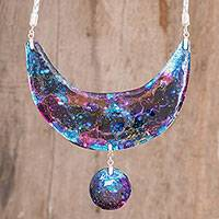 Recycled glass pendant necklace, 'The Cosmos' - Modern Recycled Glass Pendant Necklace from Costa Rica