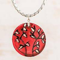 Recycled glass pendant necklace, 'Leafy Passion' - Leaf Motif Recycled Glass Pendant Necklace from Costa Rica