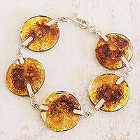 Recycled glass link bracelet, 'Yellow Moon' - Recycled Glass Link Bracelet in Yellow from Costa Rica