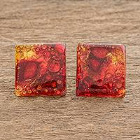 Recycled glass button earrings, 'Eco Fire' - Recycled Glass Button Earrings in Red and Orange