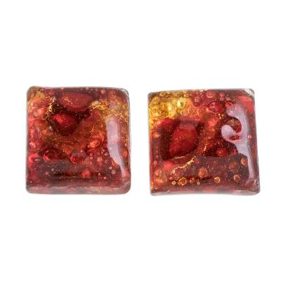 Recycled Glass Button Earrings in Red and Orange