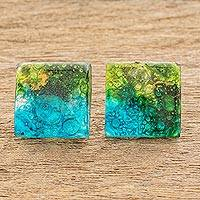 Recycled glass button earrings, 'Forest Modernity' - Recycled Glass Button Earrings in Blue and Green