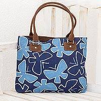 Leather accent batik cotton shoulder bag, 'Blue Flight' - Batik Leather Accent Cotton Butterfly Shoulder Bag