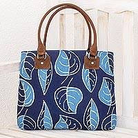 Leather accent batik cotton shoulder bag, 'Indigo Nature' - Leaf Motif Batik Leather Accent Cotton Shoulder Bag
