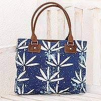Leather accent batik cotton shoulder bag, 'Indigo Leaves' - Batik Leather Accent Cotton Shoulder Bag in Indigo