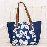 Leather accent batik cotton shoulder bag, 'Indigo Flowers' - Flower Motif Batik Leather Accent Cotton Shoulder Bag