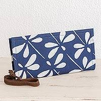 Leather accent batik cotton wristlet, 'Indigo Dragonflies' - Batik Leather Accent Dragonfly Wristlet from El Salvador