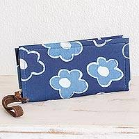 Leather accent batik cotton wristlet, 'Flowers of Yesteryear' - Floral Batik Leather Accent Cotton Wristlet from El Salvador