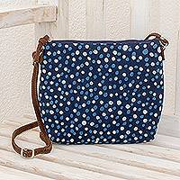 Leather accent batik cotton shoulder bag, 'Indigo Elegance' - Batik Leather Accent Cotton Shoulder Bag from El Salvador