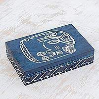Wood decorative box, 'Culture Comes Alive' - Indigo-Dyed Mayan Face Wood Decorative Box from El Salvador
